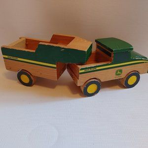 John Deere Wooden Tractor Truck and Flat Bed Toy